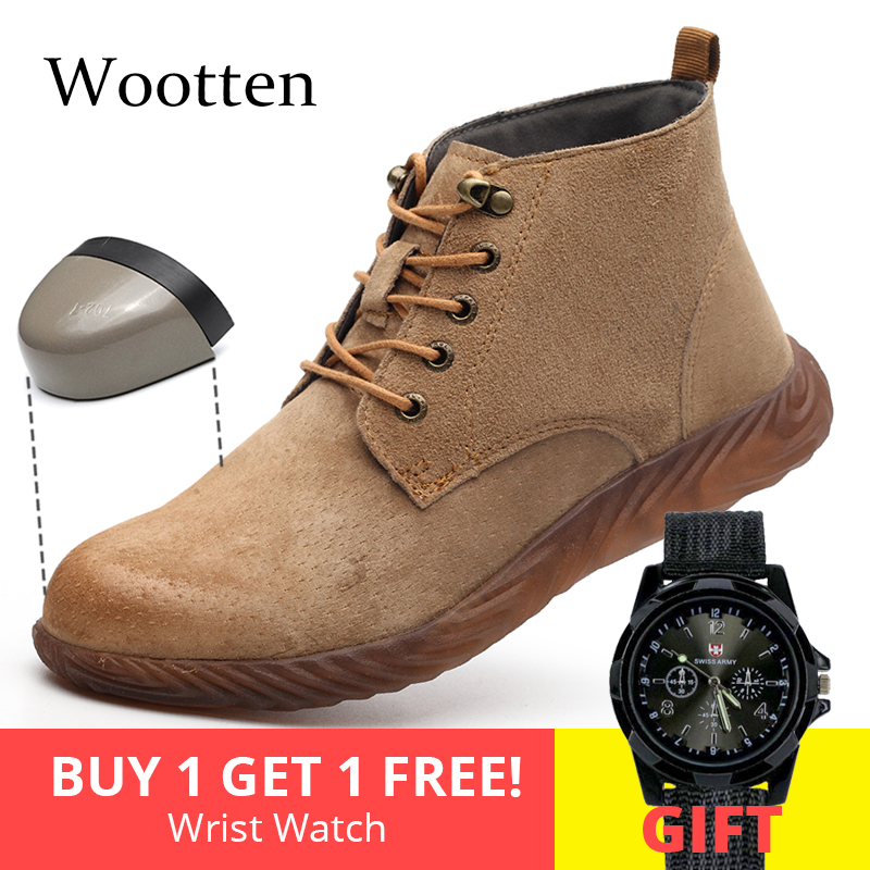 plus size men work shoes leather cap toe steel indestructible Outdoor stab-resistant Construction safety boots #LD868