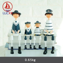 LUCKK Mediterranean Navy Hanging Dolls A Family Of Four Wooden Model Home Decor Creative Resin Figurine Toy Kid Birthday Gifts