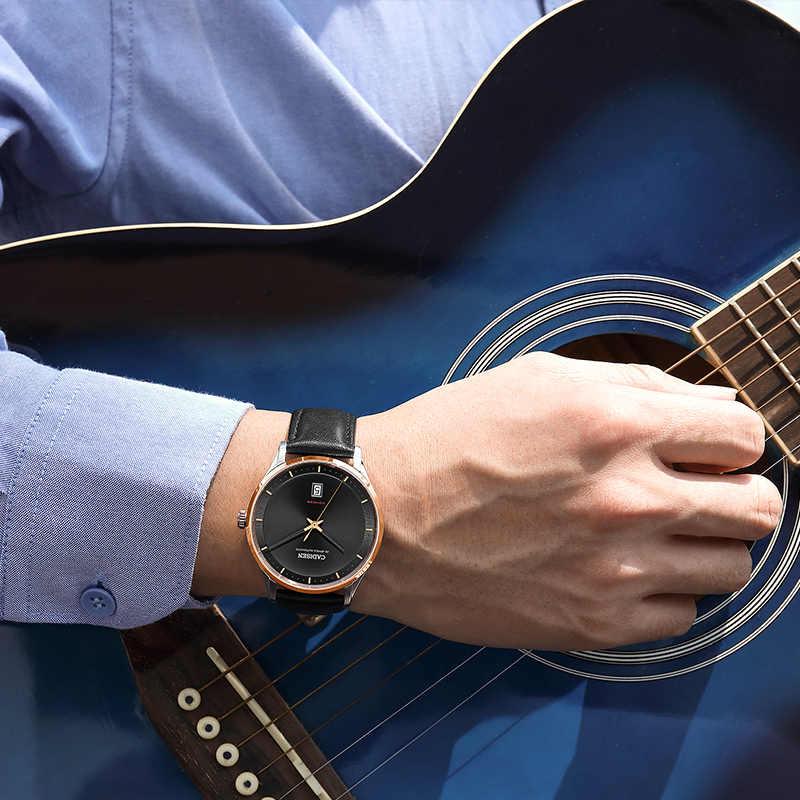 CADISEN التلقائي ساعة ميكانيكية الرجال NH35A حركة جلد طبيعي الياقوت مقاوم للماء relogio masculino reloj hombre