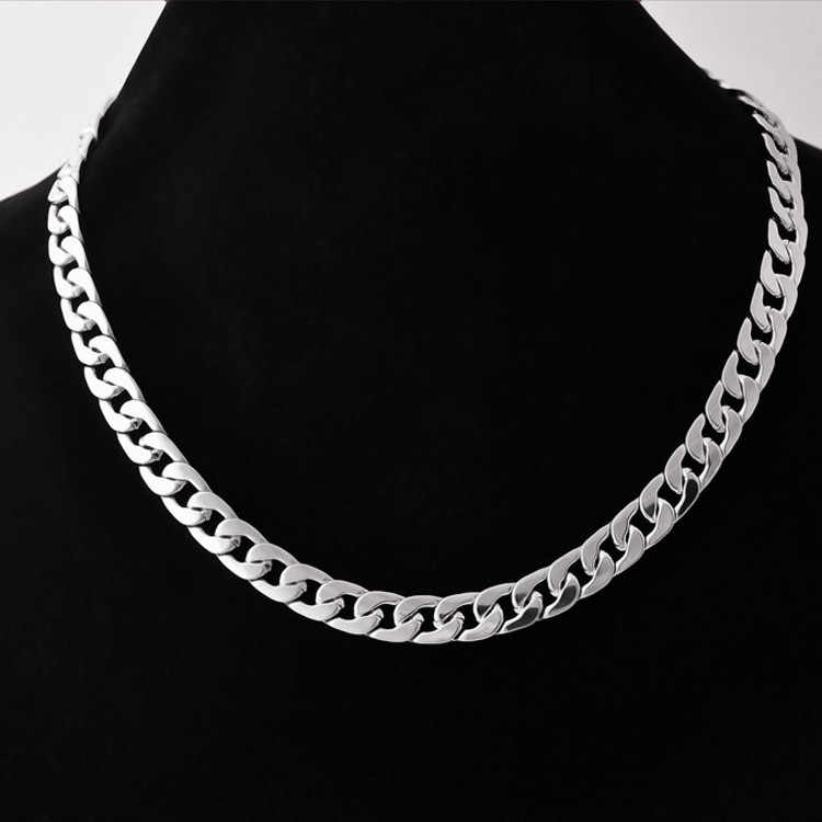 Men Twist Oblate Wide Chain Necklace Party Jewelry Birthday Gift Silver Necklace Korean Version Of The Simple Titanium Necklace