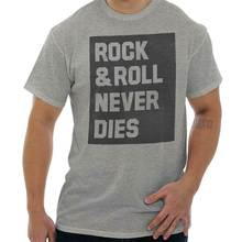 лучшая цена Rock And Roll Never Dies Music Classic Rock Short Sleeve T-Shirt Tees Tshirts