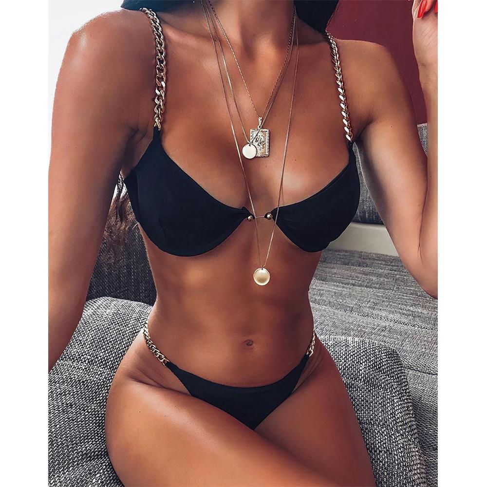 Yisiman, сексуальное бикини с кольцами, набор, железная цепочка, костюм с глубоким v-образным вырезом, белый купальник, женский летний купальник,... 23