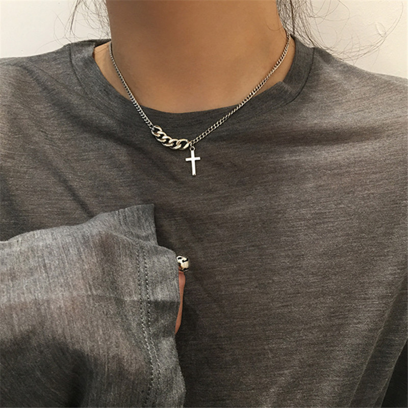 Fashion Trendy Sliver Color Chains Cross Pendants Choker Necklace For Woman 2020 New Stainless Steel Religious Jewelry Male