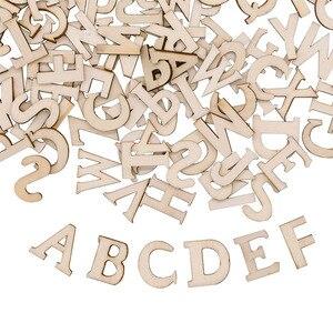 Lote de 100 unidades de adornos de números con letras variadas, Chips de madera para manualidades, álbum de recortes de madera, decoración artística DIY para fiesta de boda