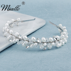 Miallo Crystal Pearl Headbands for Women Silver Color Crown Hairbands Bridal Wedding Hair Accessories Party Jewelry Gifts