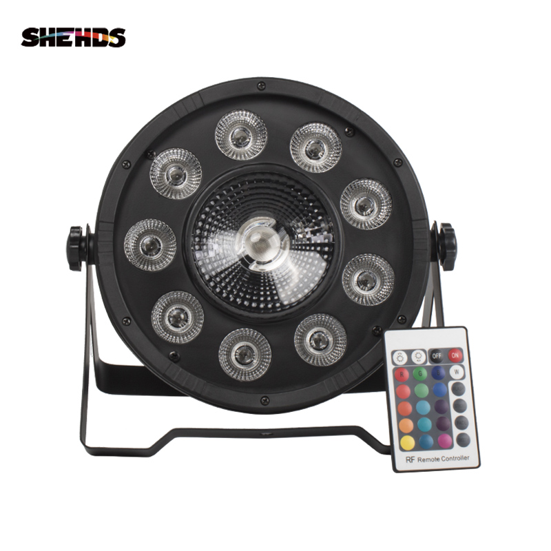 Shehds Remote/non-remote Control LED Flat Par 9x10W+30W RGB Lighting  Stage Effect Lighting For DJ Disco Party And Ball