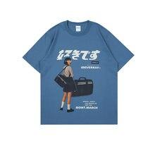 Harajuku T Shirt Girl And Boy Japanese Kanji Print T Shirt Men Women Hip Hop Streetwear Summer Loose 100% Cotton Tops Tees 2021
