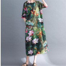 Dress Pockets Casual Summer New Mid-Sleeve Cotton Linen Large-Size Loose O-Neck Lotus