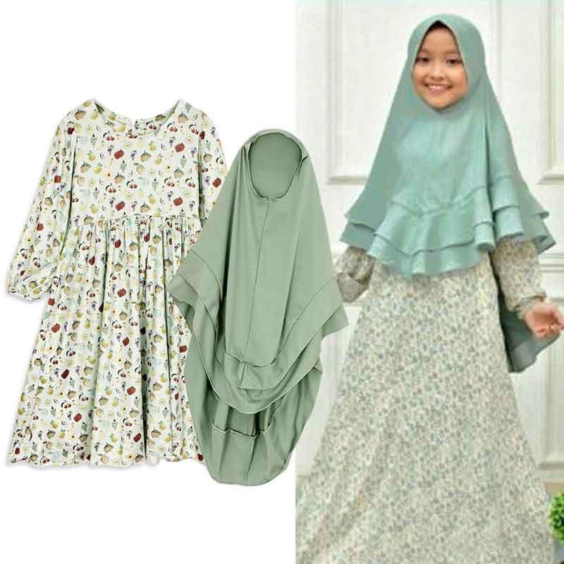 Princess Girls Abaya Printed Kaftan Robe Dubai Muslim Hijab Dress Turkey Abayas For Baby Caftan Ramadan Islamic Marocain Elbise