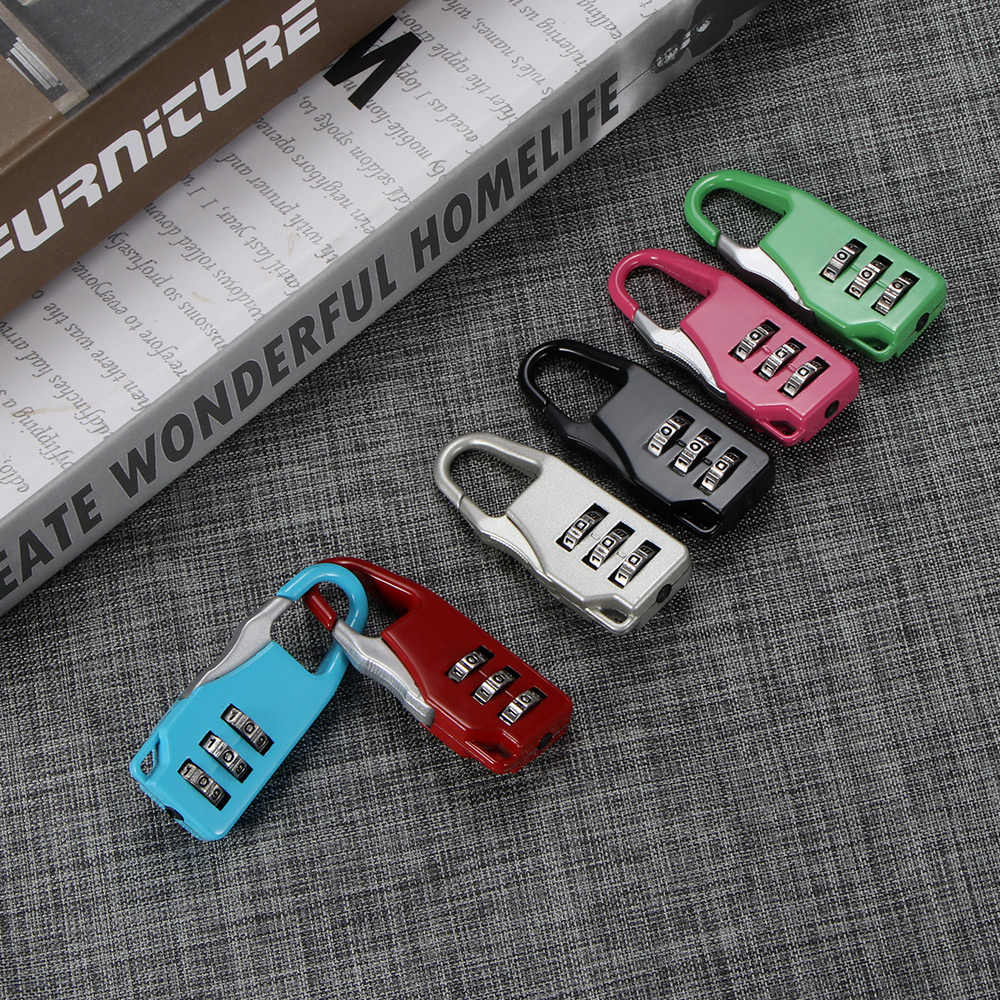 Colorful Mini Zinc Dial Digit Number Code Password Combination Padlock Security Travel Safe Lock For Padlock Luggage Lock