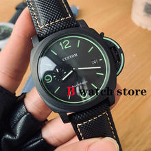 Automatic watch 44mm super luminous black stainless steel case leather strap sandwich dial military men's Wristwatch