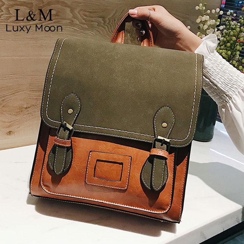 Vintage Pu Leather Women Backpack Suede Backpacks Female Fashion Girls School Bag College Backpack Shoulder Bags Mochilas XA648H