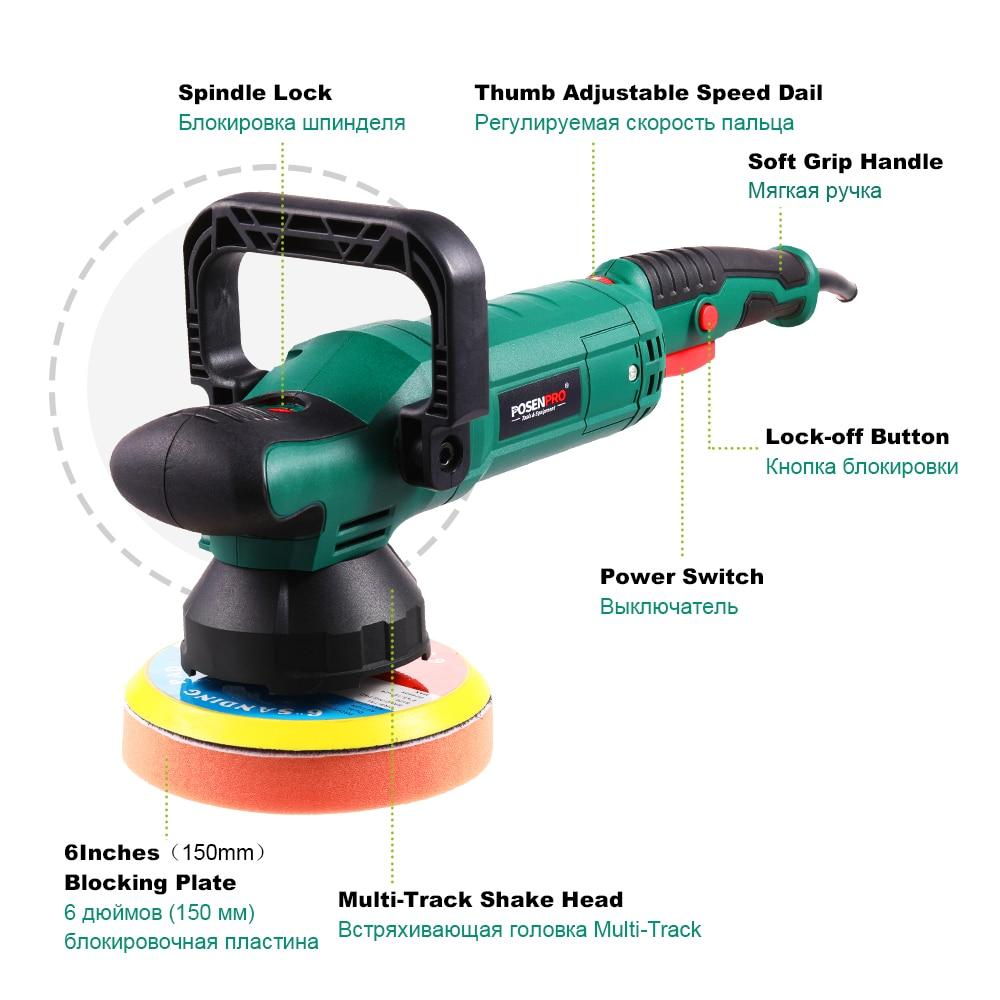 Tools : POSENPRO 150mm Dual Action Polisher 900W Variable Speed Electric Polisher Shock and Polishing Machine Cleaner Polishing Pad