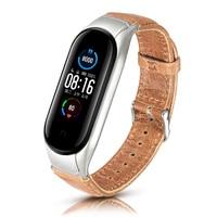 Correa de cuero para reloj inteligente Xiaomi Mi Band 6, 5 y 4, pulsera negra y marrón