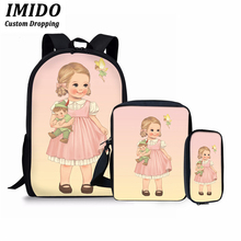 IMIDO 3Pcs/Set Cute Cartoon Little Girl Print Backpack School Bags for Teenager Girls Kids Casual Bag Baby Chidlren Pencil Pouch cute kitten cats puppy dogs print backpack pencil bag for teenager boy girl children school bags kids bookbag women backpack