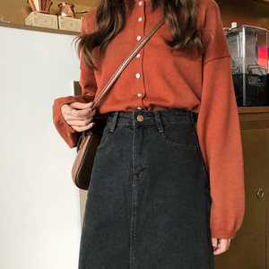 Image 5 - Skirts Women Denim A Line Simple Korean Style Button Pocket Harajuku High Waist Soft Womens Calf Length Skirt Streetwear Chic