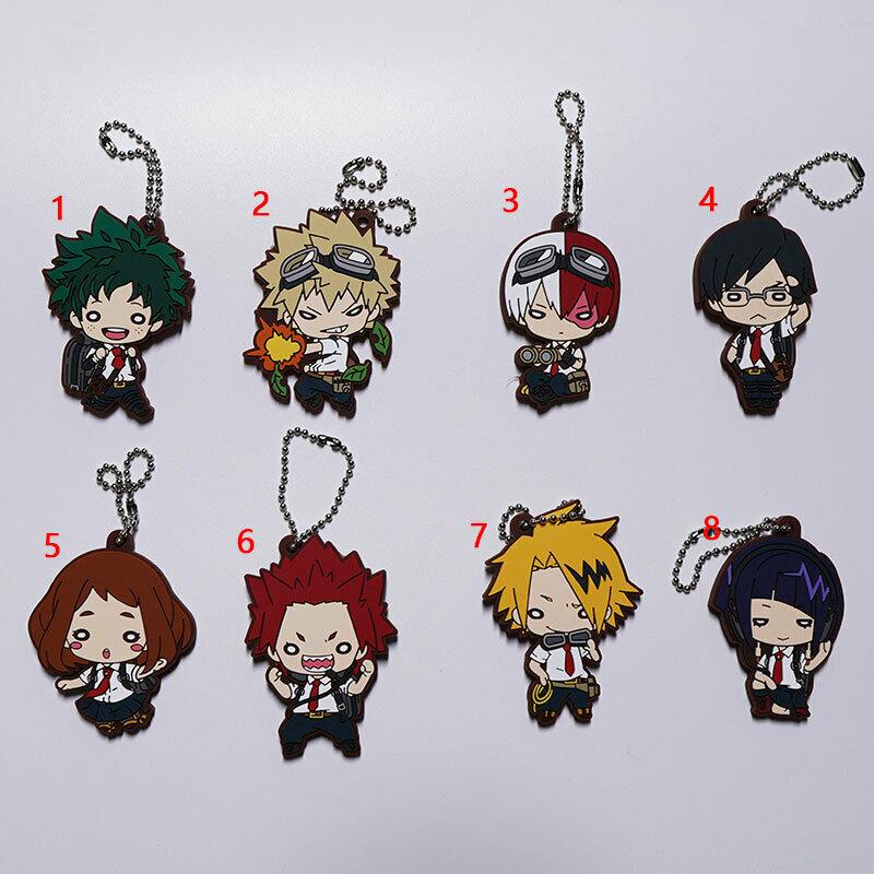 Anime Boku no Hero Academia rubber Keychain Key Ring Race straps Cosplay