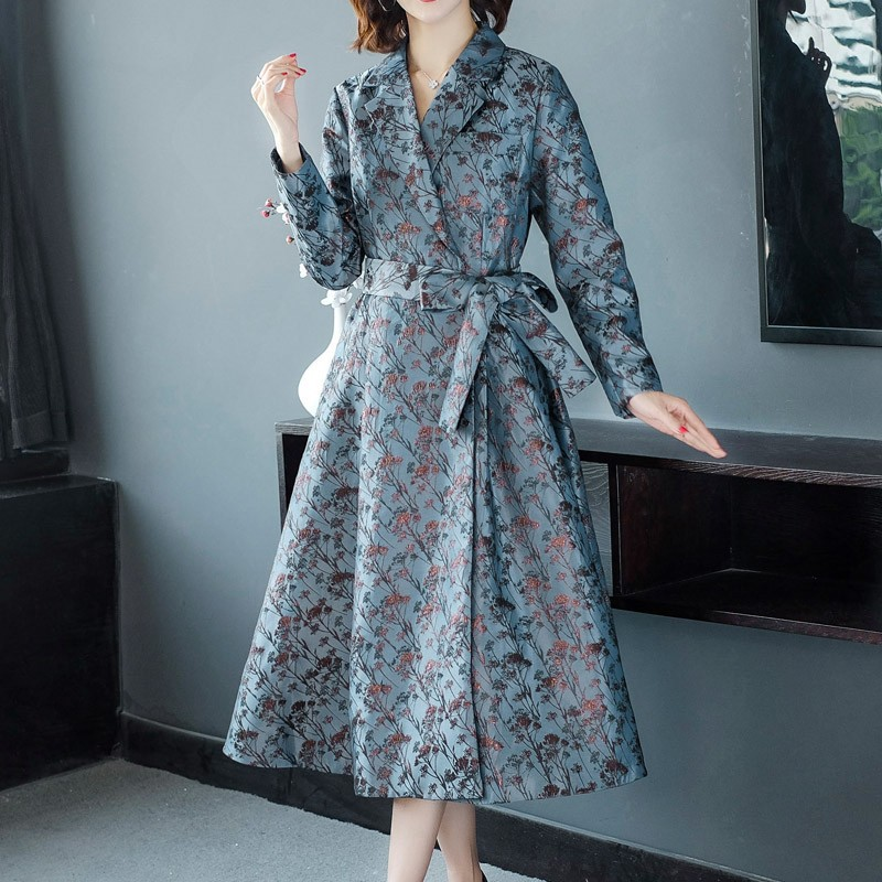 # erregina Women Thin   Trench   Coat Turn-down Collar Belt Patchwork Long   Trench   Coat Slim Streetwear Korean Outwear Wind Coat 2019
