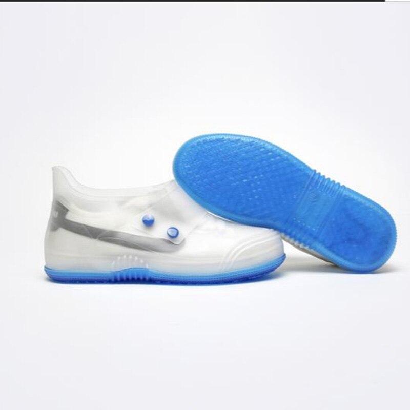 Covers shoes couples fashion transparent button PVC waterproof shoes covers women men cover rain shoes