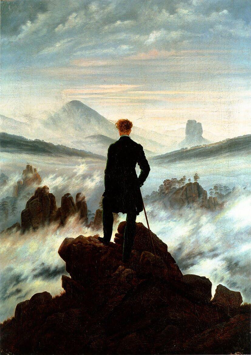 Caspar David Friedrich: The Wanderer Above The Sea Of Fog Silk Poster Decorative Painting  24X36Inch