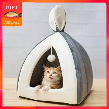Hot sell Pet Cat House Bed Indoor Kitten mat Warm Small for cats Dogs Nest Collapsible Cat Cave Cute Sleeping Mats Winter Produc multifunctional pet hammock cats beds indoor cat house mat for warm small dogs bed kitten lounger cute sleeping mats products