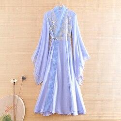 Hi-end Hanfu été 2020 femmes trompette manches robe broderie mince élégant dame Style chinois a-ligne robe de soirée S-XXL