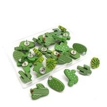 30PCS Wooden Push Pins Cactus Palm Leaf Thumb Tack Decorative Cute Pushpins for