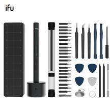 Ifu kit de ferramentas para chave de fenda magnética, mini aparafusadeira elétrica sem fio, kit de ferramentas phillips torx, bateria de íon lítio, conjunto de pontas, chave de fenda