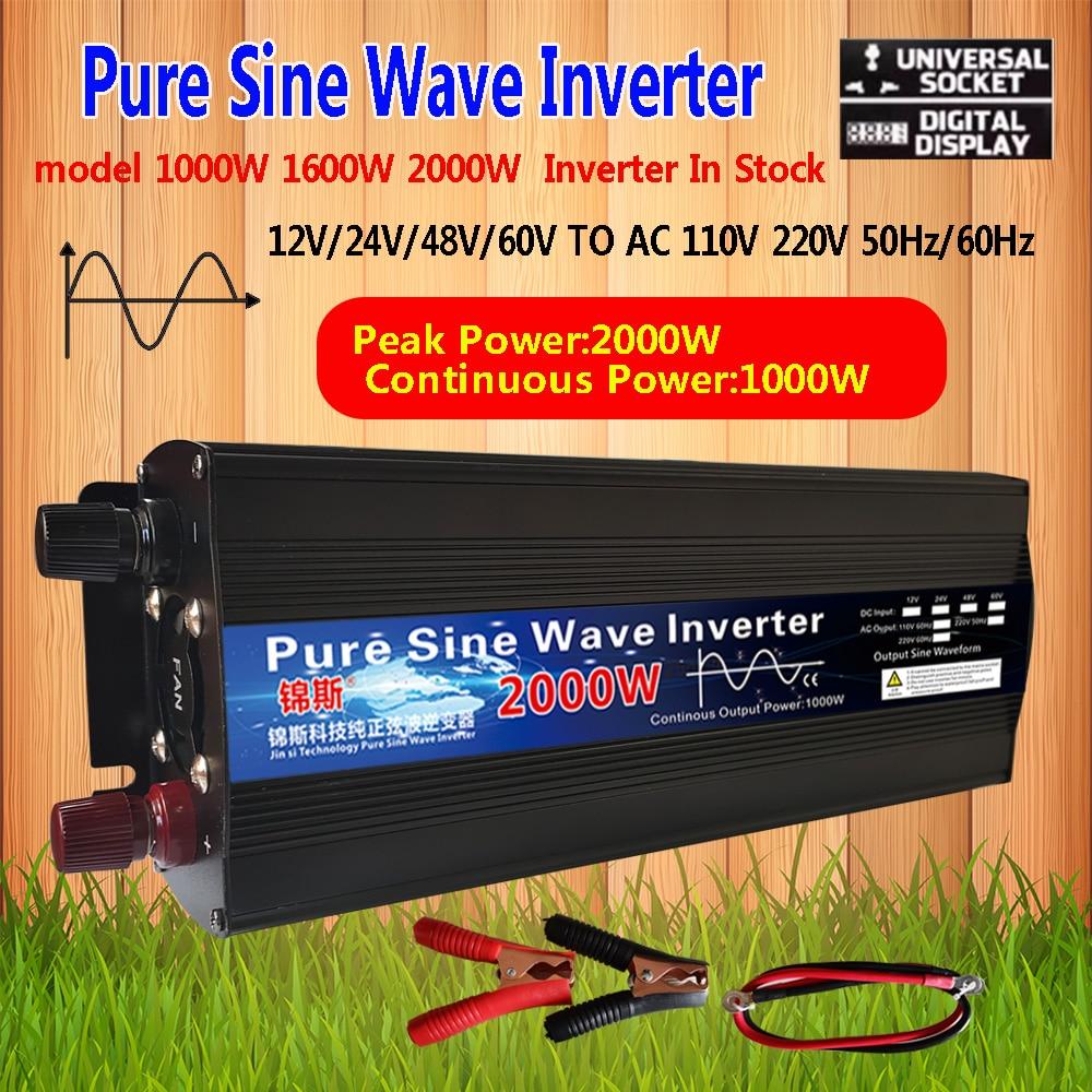Чистая Синусоидальная волна инвертор постоянного тока 12V 24V AC 220V 110V 60Hz 1000W 1600W 2000W Мощность усилитель конвертера автомобильный солнечный инве...