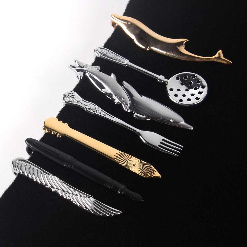 Cartoon Tie Clip For Men Classic Meter Tie Clips Copper Tie Bar Golden Tie Collar Pin Crystal Business Corbata