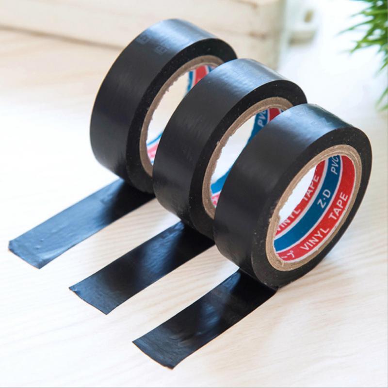 6 м черный трансформатор Электрический провод ленты самоклеющиеся огнестойкий пластик упаковочной ленты PVC водостойкая клейкая лента