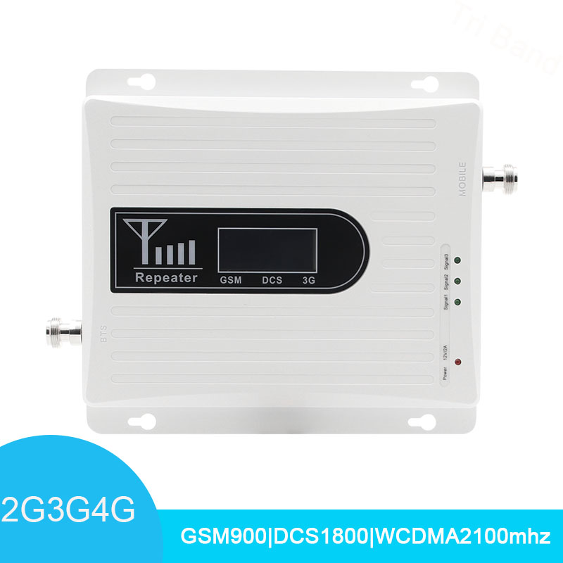 Signal Booster Tri Band Mobile Signal Amplifier Repeater 2G 3G 4G GSM 900MHz DCS LTE 1800MHz WCDMA UMTS 2100MHz LCD Display