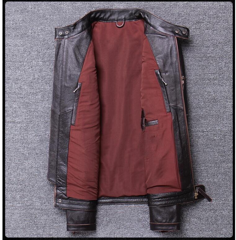 H5074c819d281419c95818a542dcbcb8cL 2019 Vintage Brown Men Slim Fit Motorcycle Leather Jacket Plus Size XXXXL Genuine Cowhide Spring Biker's Coat FREE SHIPPING