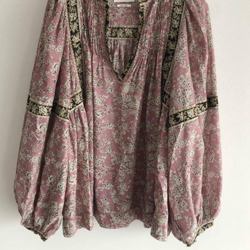 Women Shirt Vintage V-neck Lantern Sleeve Shirt With Pleated Floral Print