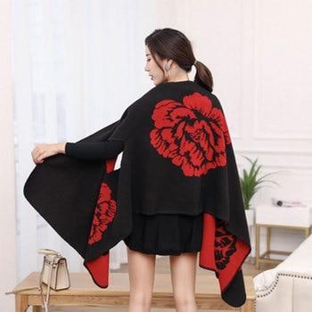 New 2020 Thick Winter Women's Poncho Travel Shawls Scarves Female Cashmere Capes Cloak Bandana Hijab Foulard Femme Pashmina 1
