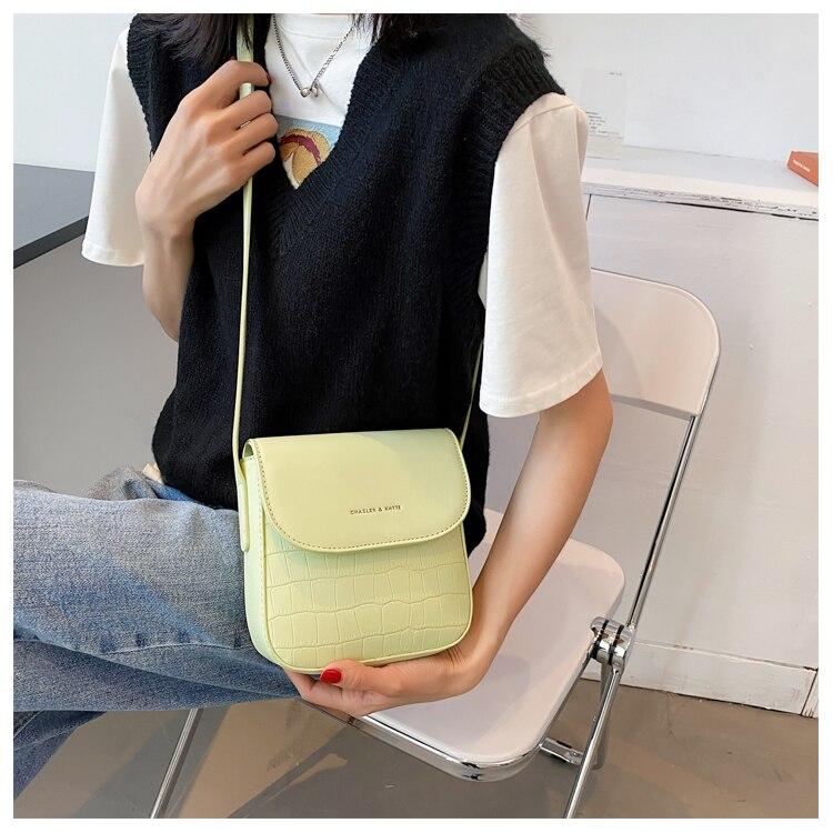 Verão simples cor sólida pequeno saco feminino