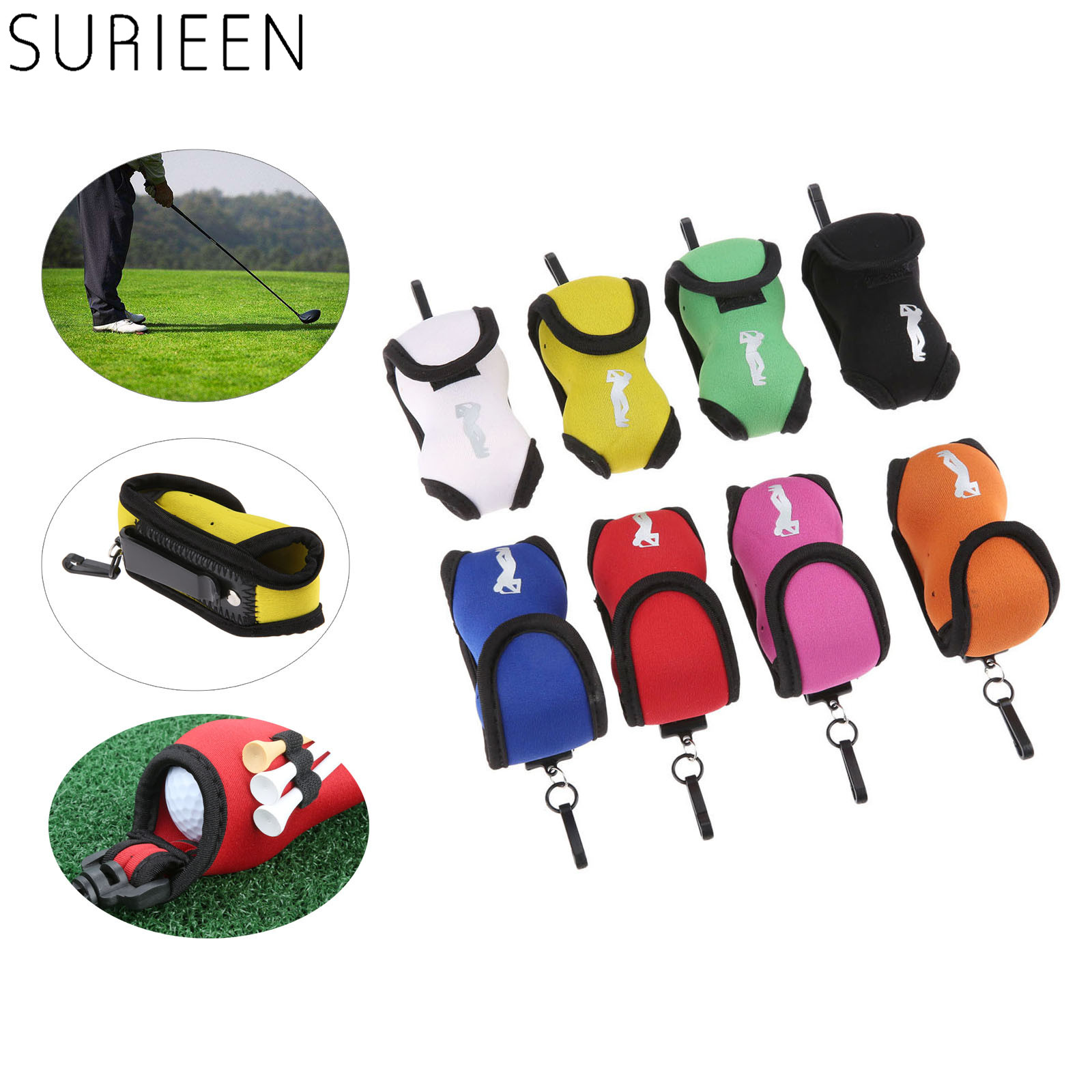Portable Neoprene Mini Golf Ball Bag Golf Tees Holder Storage Case Carry Pouch Pack With Waist Belt Clip For Training 8 Colors