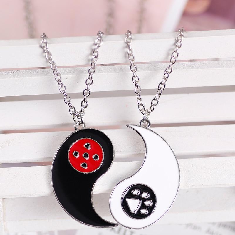 2021 Creative Ladybug Footprint Pendant Necklace Men Women Retro Tai Chi Chinese Couple BFF Friendship Miraculous Jewelry Gift