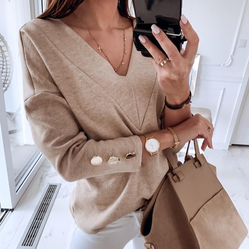 Plus Size 2020 - White Buttons Long Sleeve Shirts Korean V-Neck Women Blouses Casual