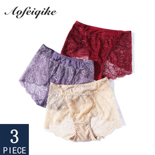 Underwear For Woman Sexy Lace High Rise Female Panties With Pocket Winter Briefs Lady 3 Pieces Aofeiqike