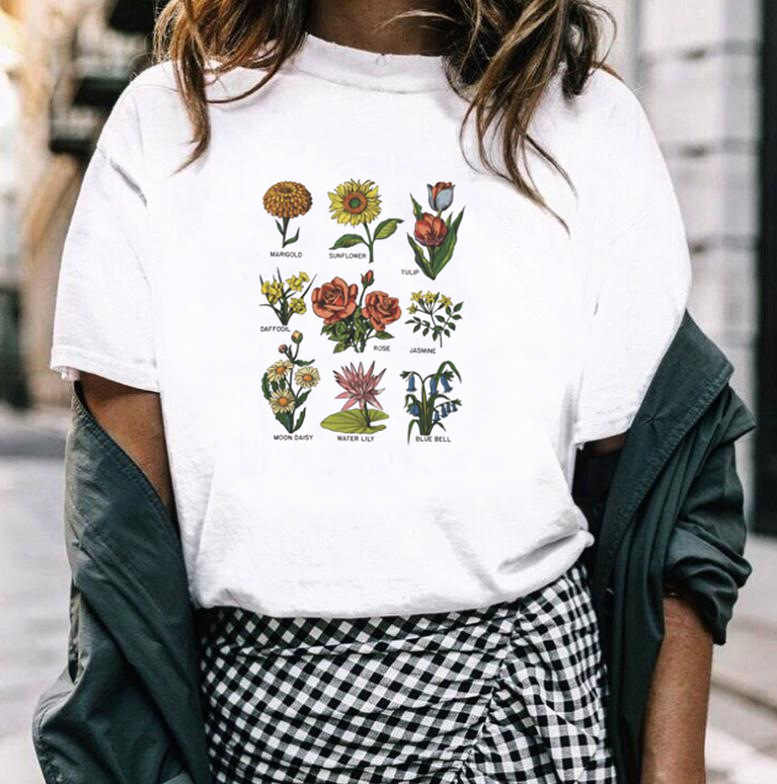 Wildflower Flower Print T Shirt Women Short Sleeve O Neck Loose Harajuku Tshirt 2019 Summer Fashion Women Tee Shirt Tops
