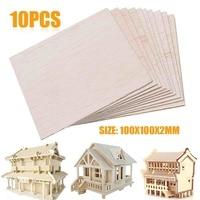 10 قطعة 100x100x2 مللي متر طبق خشبي نموذج ملاءات طوافة خشبية DIY البيت السفينة الطائرات