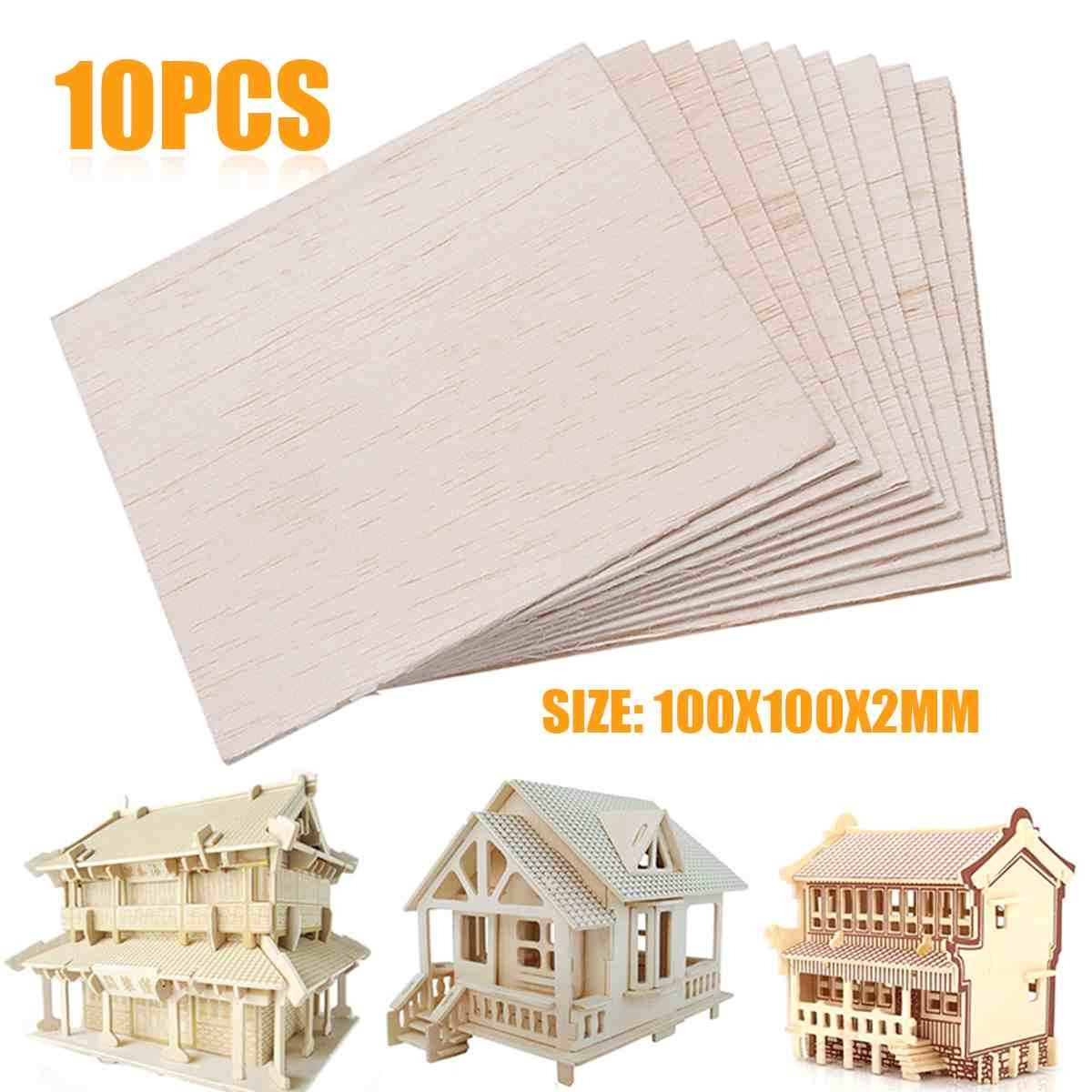 10Pcs 100x100x2mm Wooden Plate Model Balsa Wood Sheets DIY House Ship Aircraft