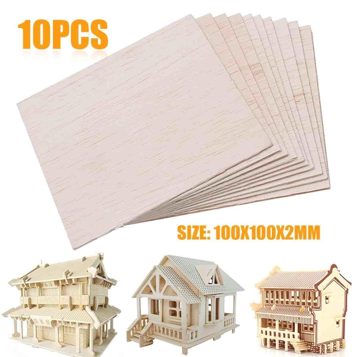 10Pcs 100x100x2mm Wooden Plate Model Balsa Wood Sheets DIY House Ship Aircraft