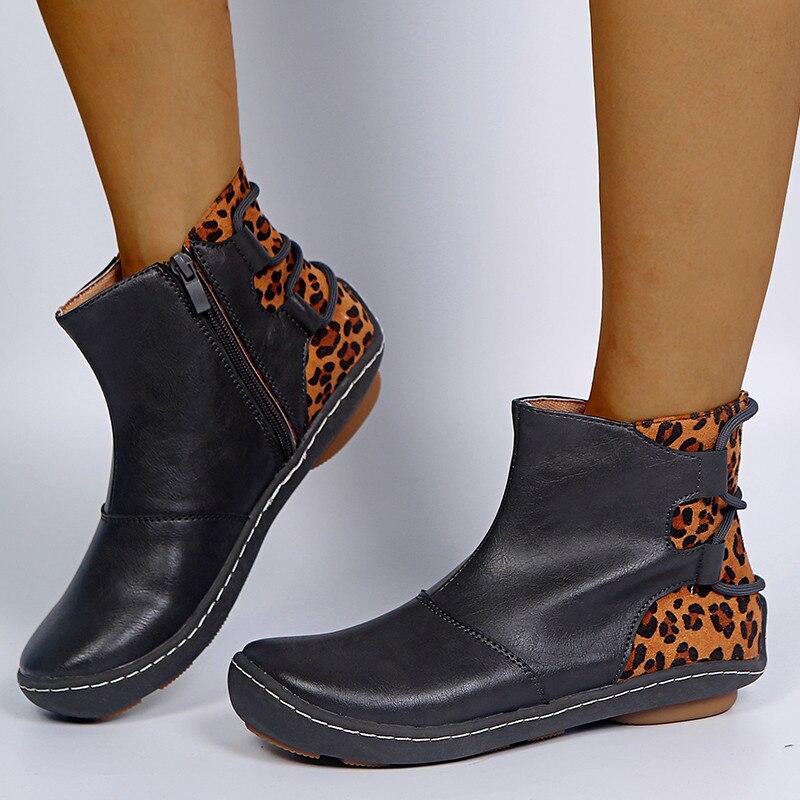 Stivali corti retrò scarpe da donna con motivo a serpente Pu Patchwork 2021 primavera autunno stivaletti con Zip femminili scarpe basse con tacco rotondo donna