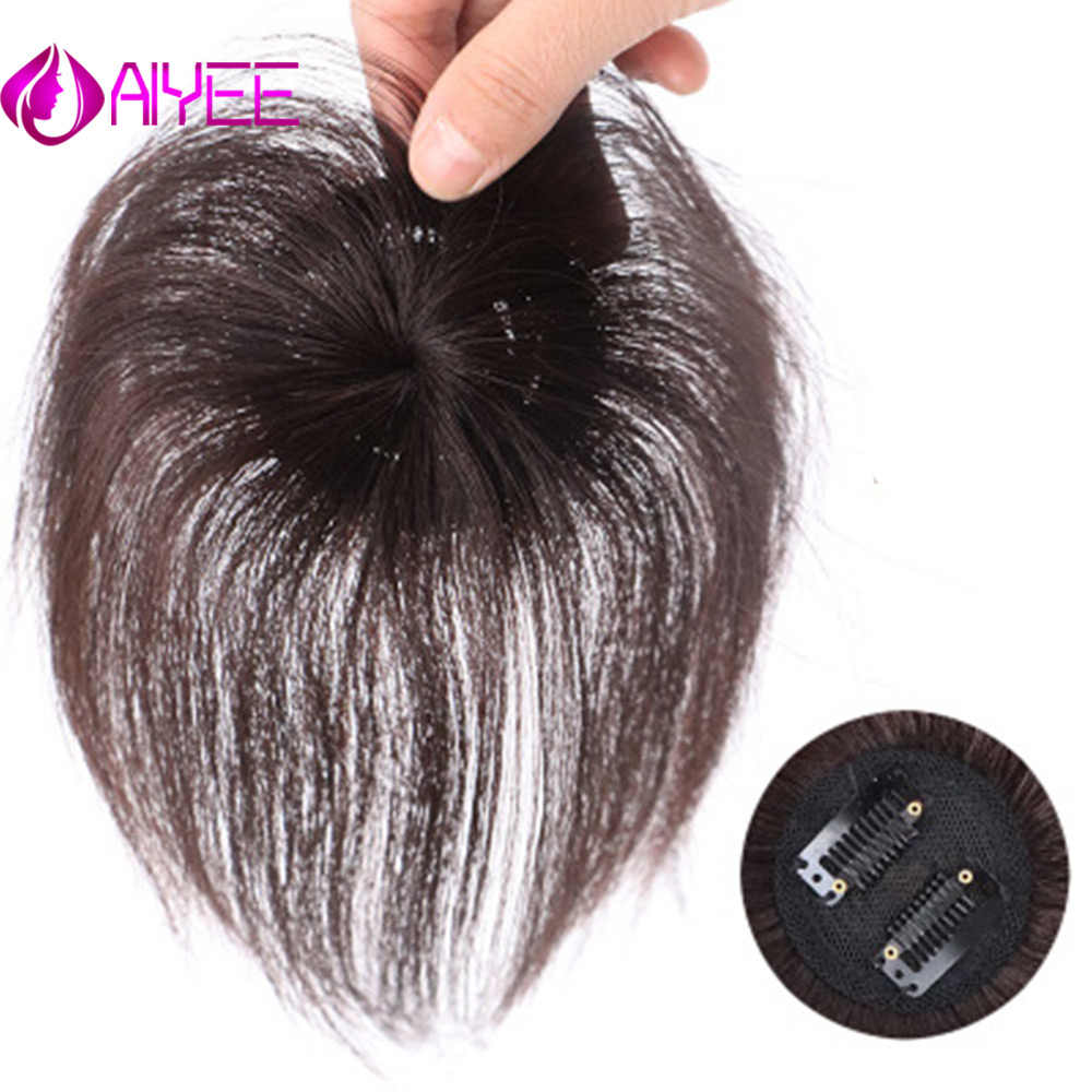 AIYEE Natural Black Topper Hairpiece with Bang Hair Piece  Piece Closure Toupee Straight Synthetic Protein Silk Hair Hand-made