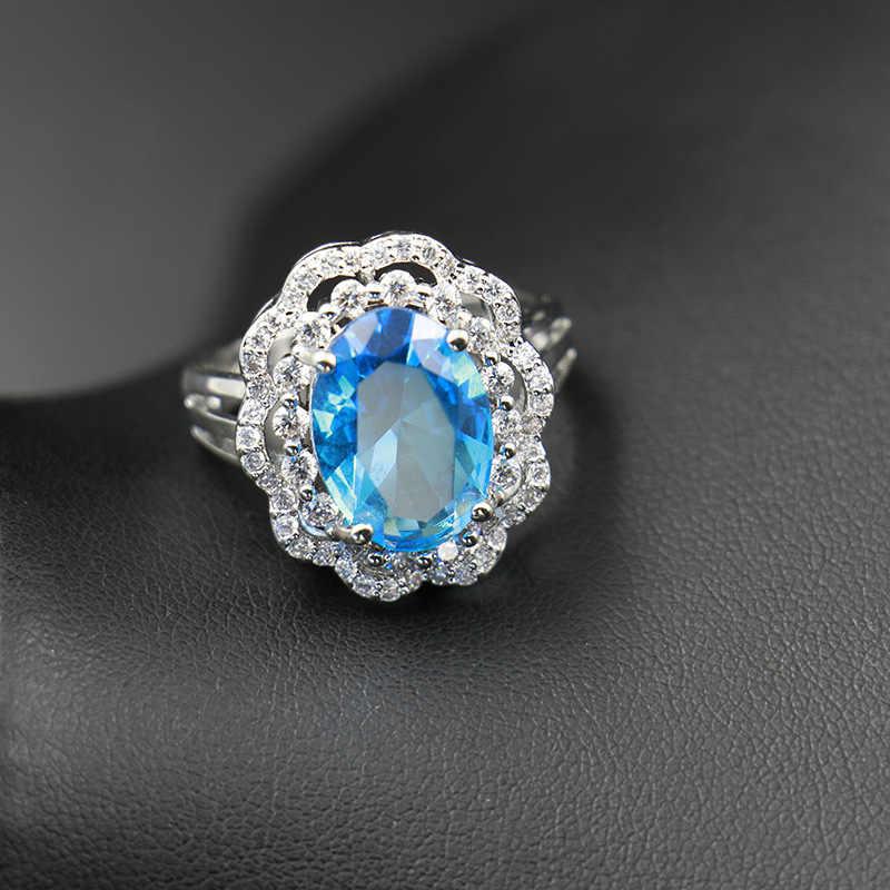 GZJY, женский красный светильник, синий, большой кристалл, камень, Свадебные Ювелирные наборы, 925 пробы, серебряные серьги, ожерелье, кулон, кольцо, наборы