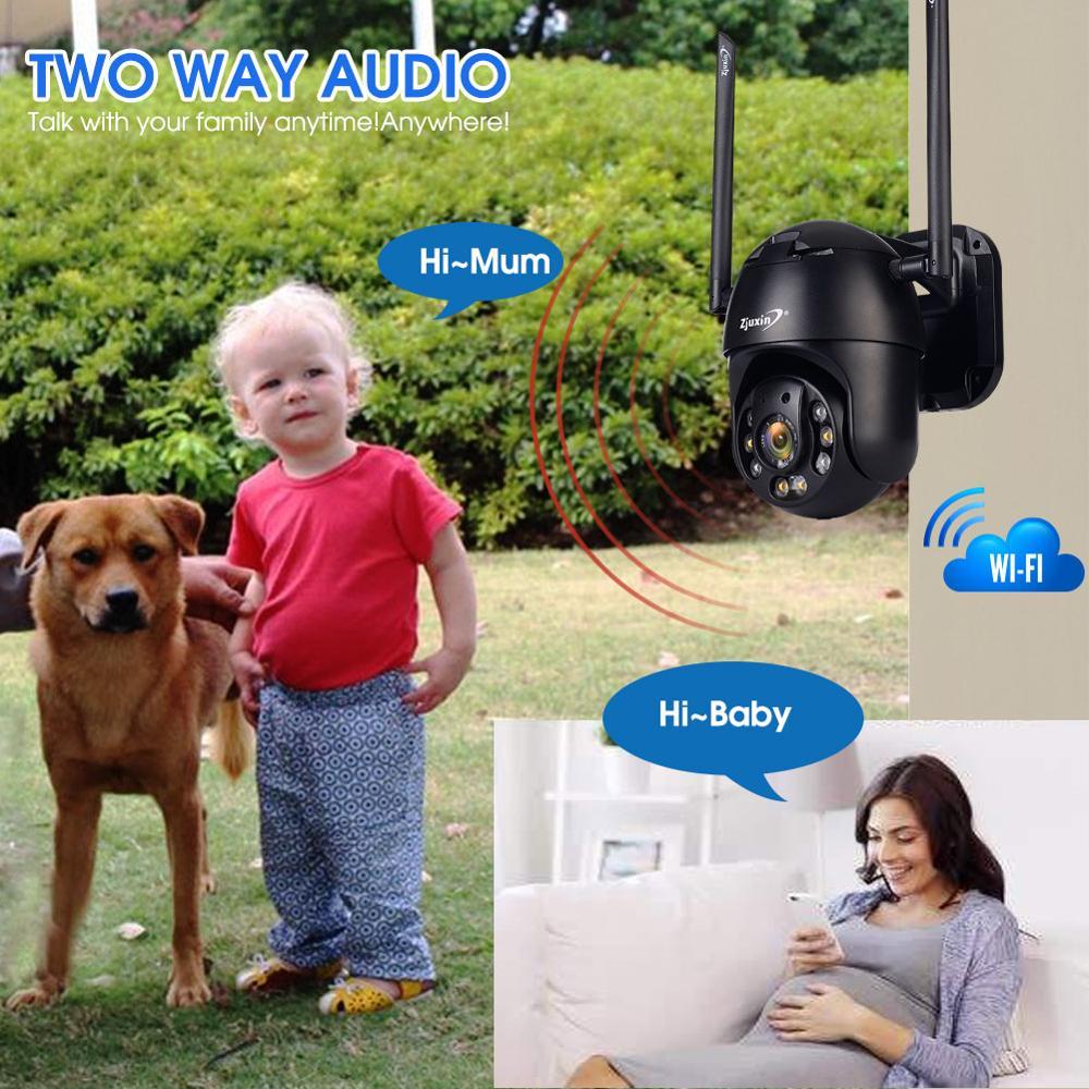Cámara IP Zjuxin PTZ WiFi HD1080P cable inalámbrico PTZ cámara de seguridad exterior CCTV Camra doble Luz de detección humana AI nube - 3