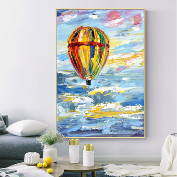 Hand-painted Abstract Oil Painting Hot Air Balloon Sharply Modern Living Room Entrance Decorative Painting Vertical Version Back