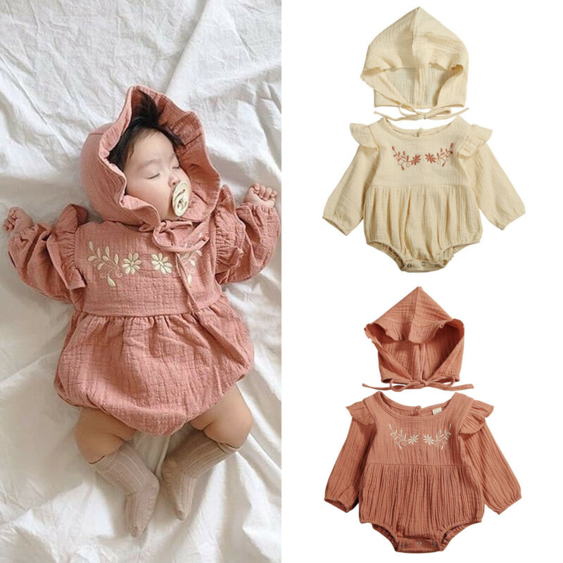 Cute Baby Girl Cotton&Linen Clothes Sets Ruffle Fly Sleeve Embroidery Romper Jumpsuit Hat Newborn 2Pcs Baby Girl Outfits 0-24M